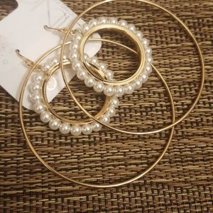 Double Circle Pearl and Gold Earrings